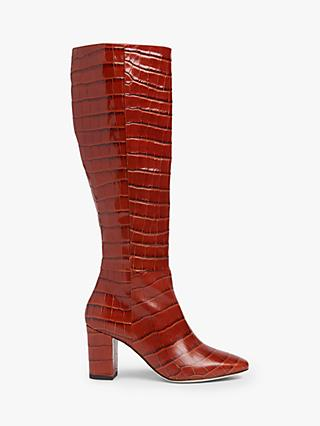 L.K.Bennett Sirena Leather Croc Effect Knee Boots