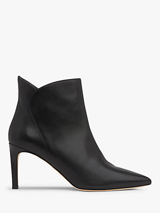 L.K.Bennett Maja Stiletto Heel Leather Ankle Boots, Black