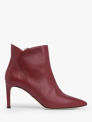 L.K.Bennett Maja Stiletto Heel Leather Ankle Boots, Burgundy