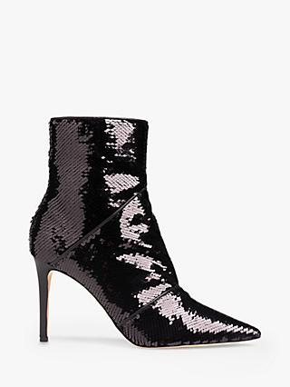 L.K. Bennett Veronica Sequin Ankle Boots, Black