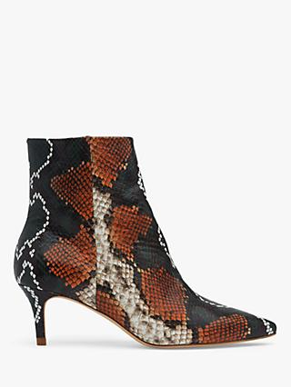 L.K.Bennett Tamara Snake Print Stiletto Ankle Boots, Orange/Green