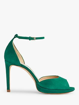 L.K.Bennett Joyce Suede Peep Toe Sandals, Bright Green