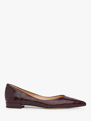 L.K.Bennett Harlow Pointed Toe Croc Effect Leather Pumps, Burgundy