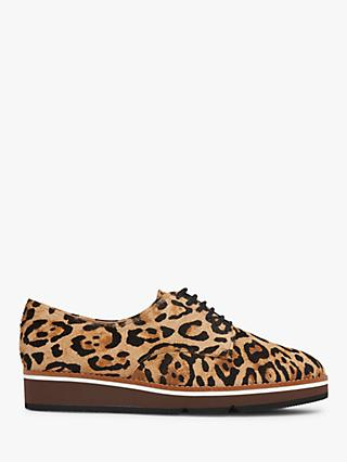 L.K.Bennett Sandy Leopard Calf Hair Platform Brogues, Natural