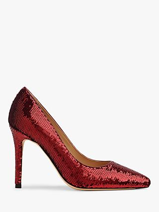 L.K.Bennett Fern Sequin Court Shoes, Burgundy
