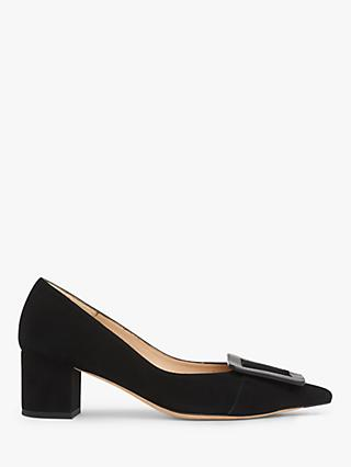 L.K.Bennett Desa Block Heel Suede Court Shoes, Black