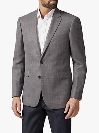 Chester by Chester Barrie Wool Linen Woven Texture Blazer, Brown