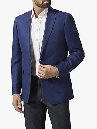 Chester by Chester Barrie Herringbone Linen Blazer, Blue