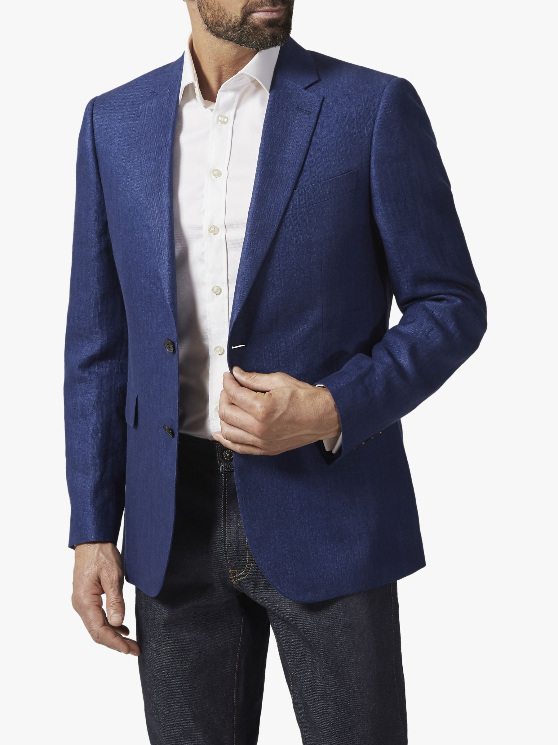 Chester by Chester Barrie Chester by Chester Barrie Herringbone Linen Blazer, Blue
