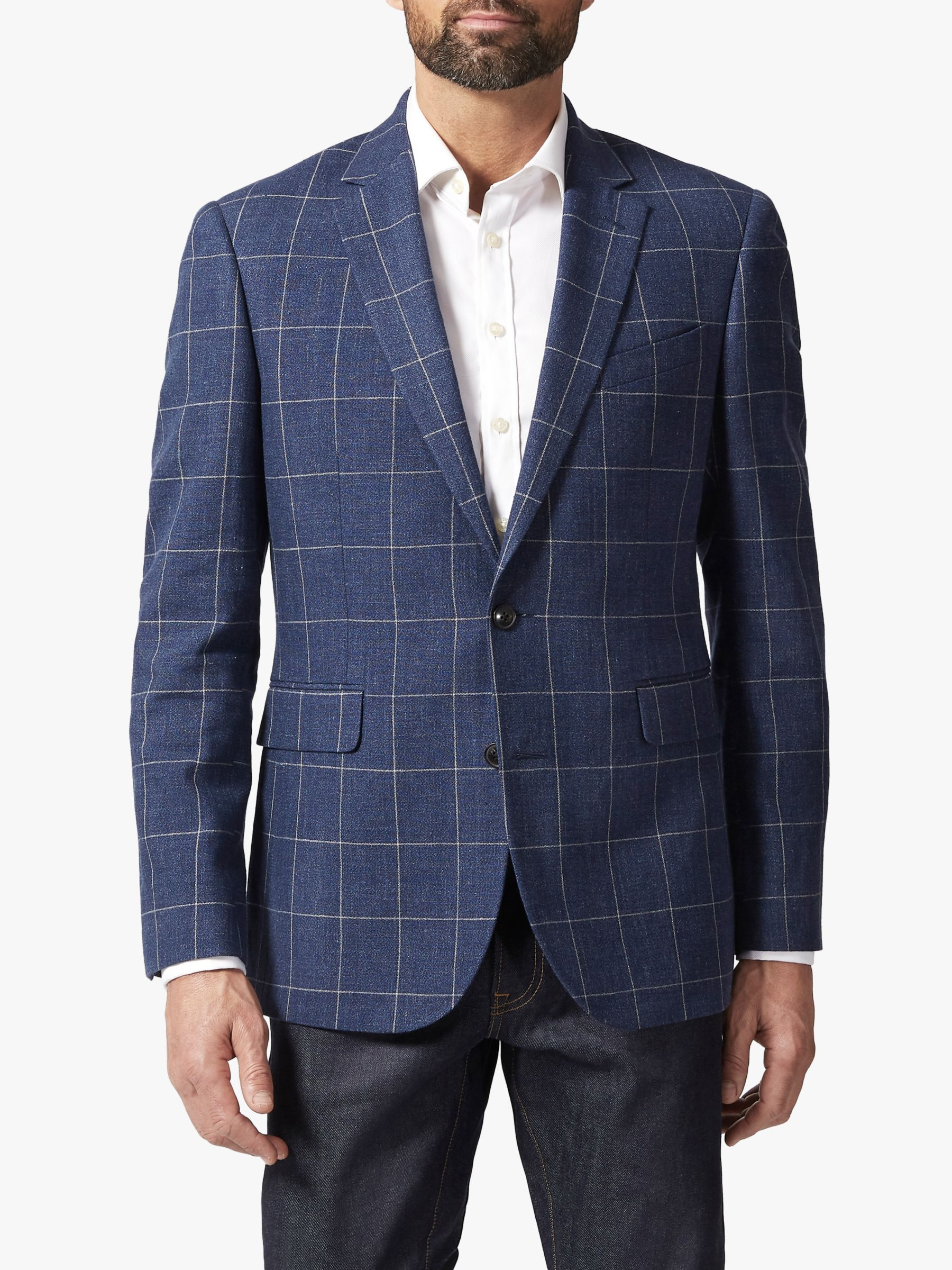Chester by Chester Barrie Chester by Chester Barrie Windowpane Check Linen Wool Blazer, Navy