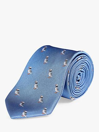 Chester by Chester Barrie Puffin Silk Tie, Blue