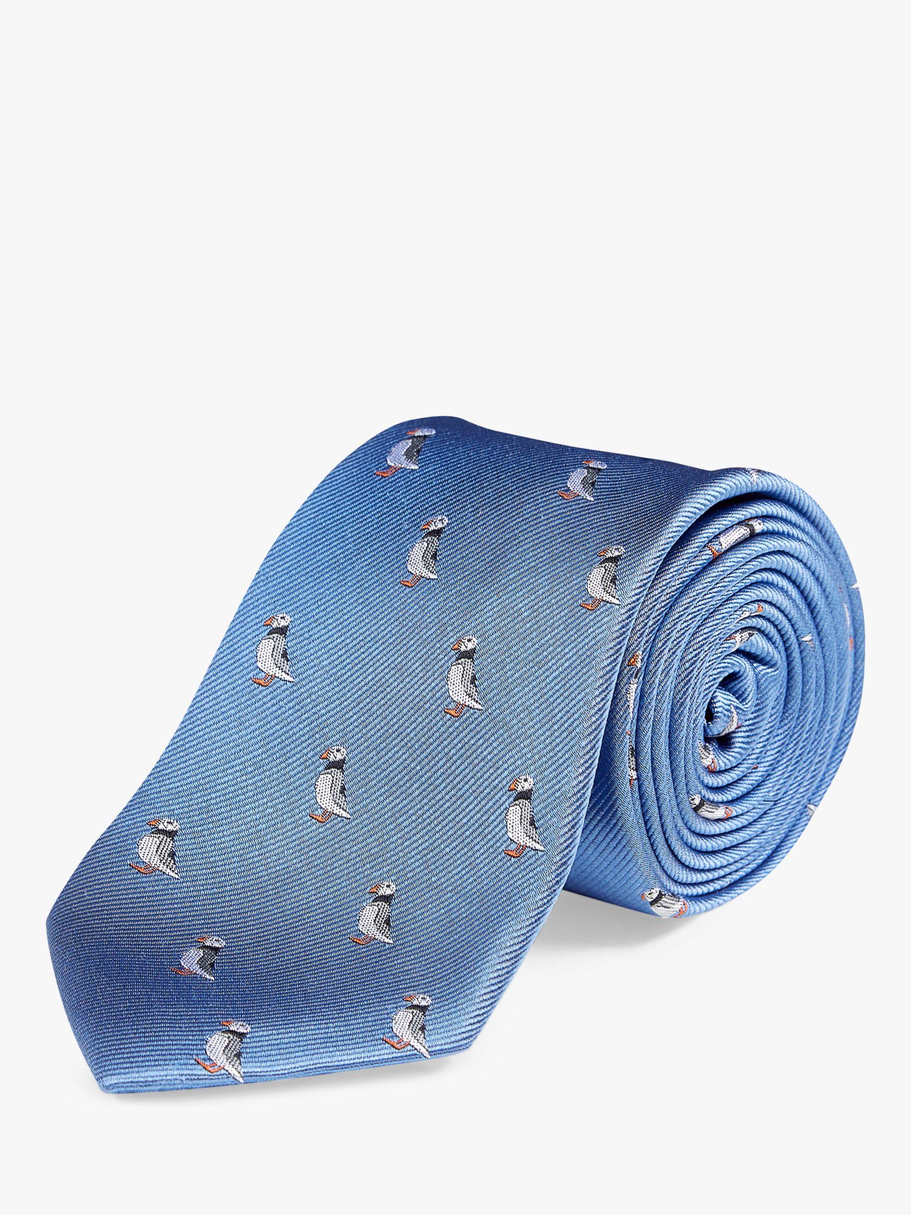 Chester by Chester Barrie Chester by Chester Barrie Puffin Silk Tie, Blue