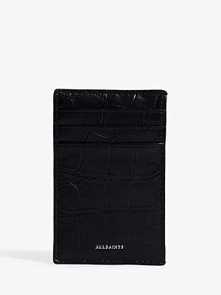 AllSaints Polly Leather Croc Embossed Card Holder, Black