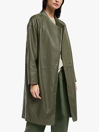 Modern Rarity Wrap Leather Coat, Green