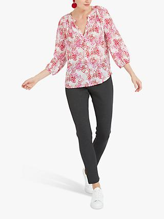 NRBY Olivia Silk Animal Print Shirt, Pink