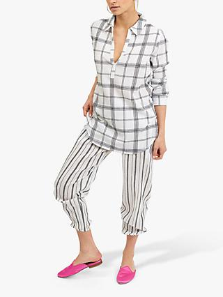 NRBY Chrissie Cotton Check Boyfriend Shirt, White/Multi