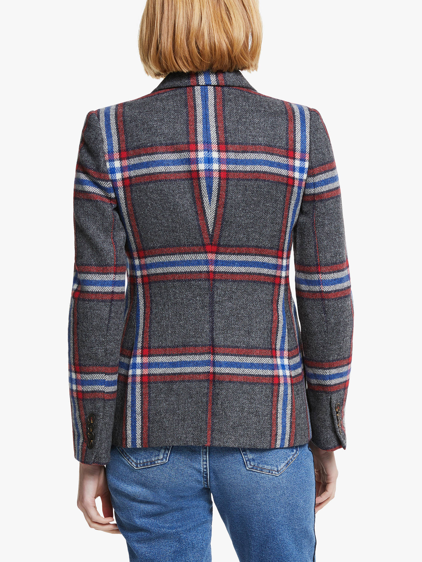 Buy Boden Smyth British Tweed Check Blazer, Red/Grey, 8 Online at johnlewis.com