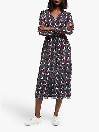 Boden Hazel Crown and Country Print Midi Dress, Navy