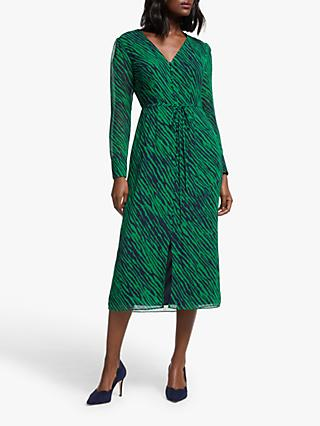 Boden Hazel Tiger Print Midi Dress, Highland Green