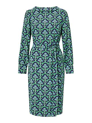 Boden Florrie Dress, Navy/Green Bud