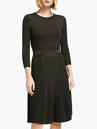 Boden Diona Knitted Dress, Black/Copper Sparkle