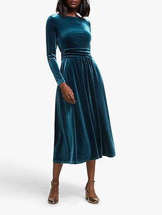 Boden Lois Velvet Midi Dress, Baltic