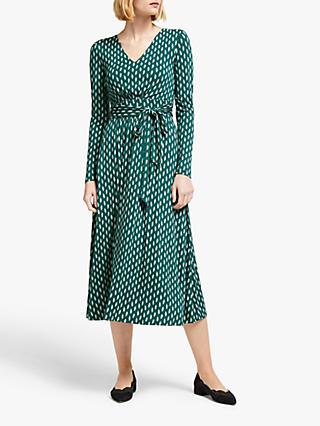 Boden Ferne Leaf Print Jersey Midi Dress, Black