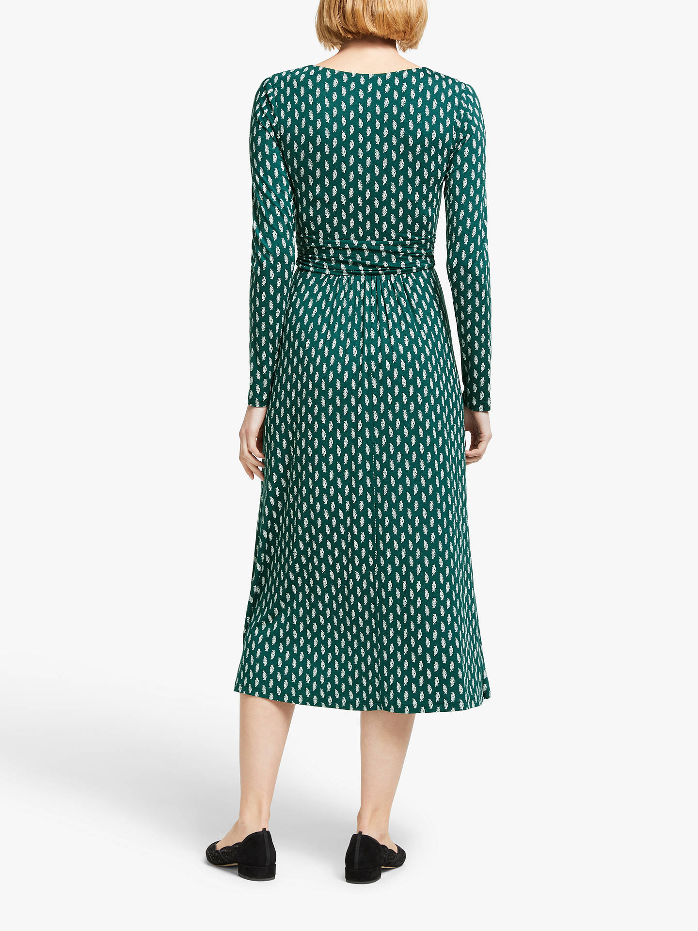 Boden Ferne Leaf Print Jersey Midi Dress, Black at John