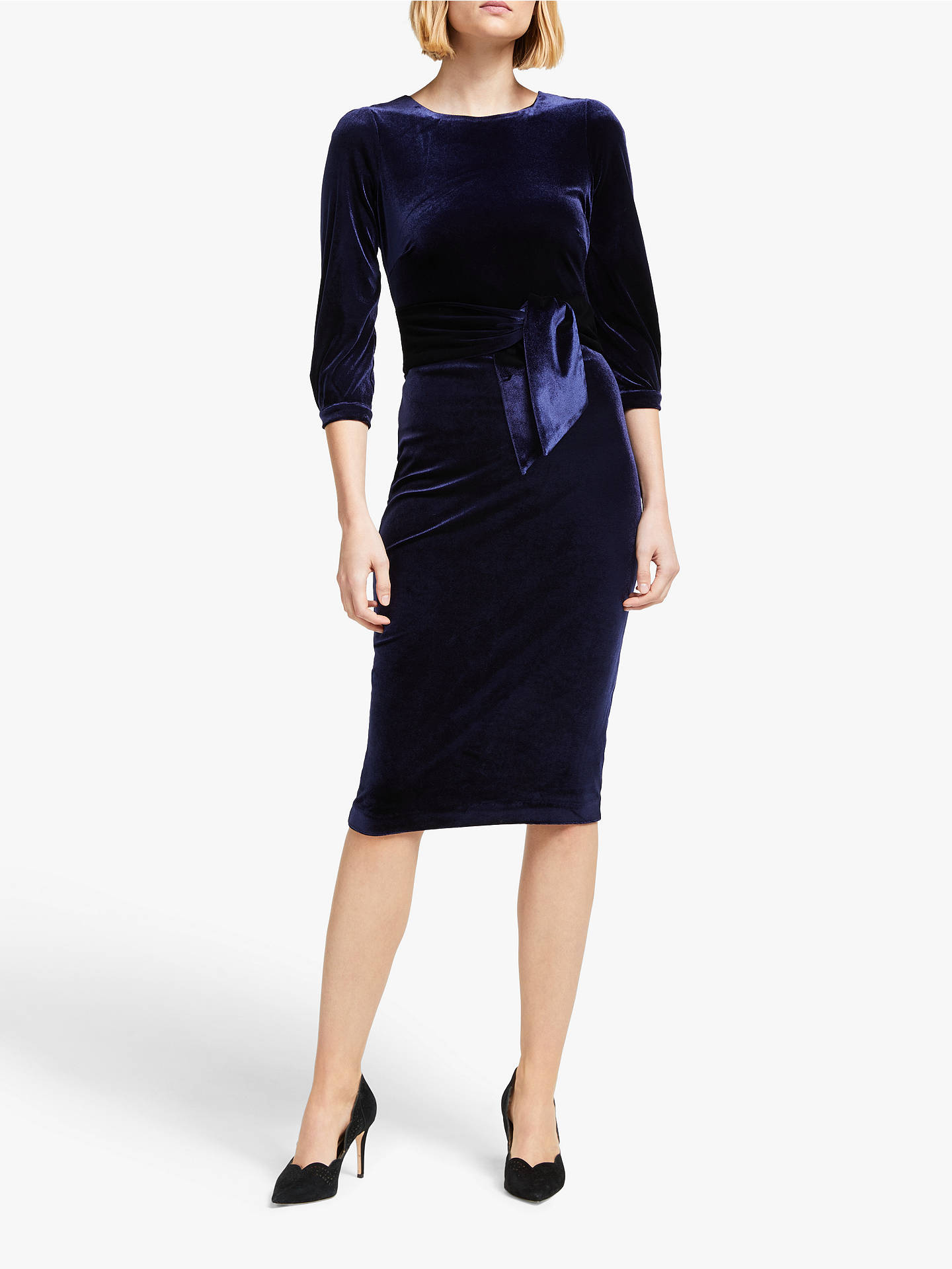 Buy Boden Julianna Velvet Midi Dress, Navy, 18R Online at johnlewis.com