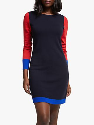 Boden Frederica Wool Blend Colour Block Dress, Navy Tipped