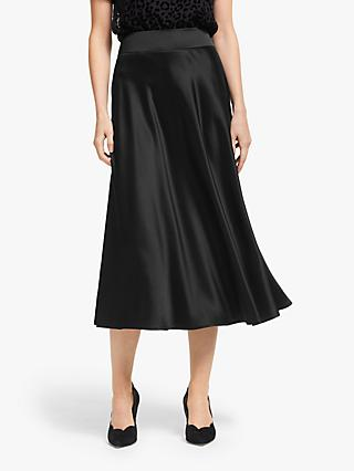 Boden Tessa Satin Midi Skirt, Black