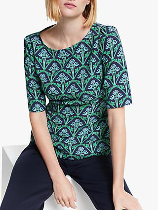 Boden Annie Floral Tile Top, Navy/Green