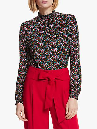 Boden Connie Printed Jersey Top, Black Floral Wave