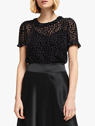 Boden Romy Sheer Animal Print Top, Black