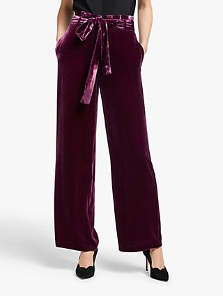 Boden Haverhill Velvet Trousers, Beetroot