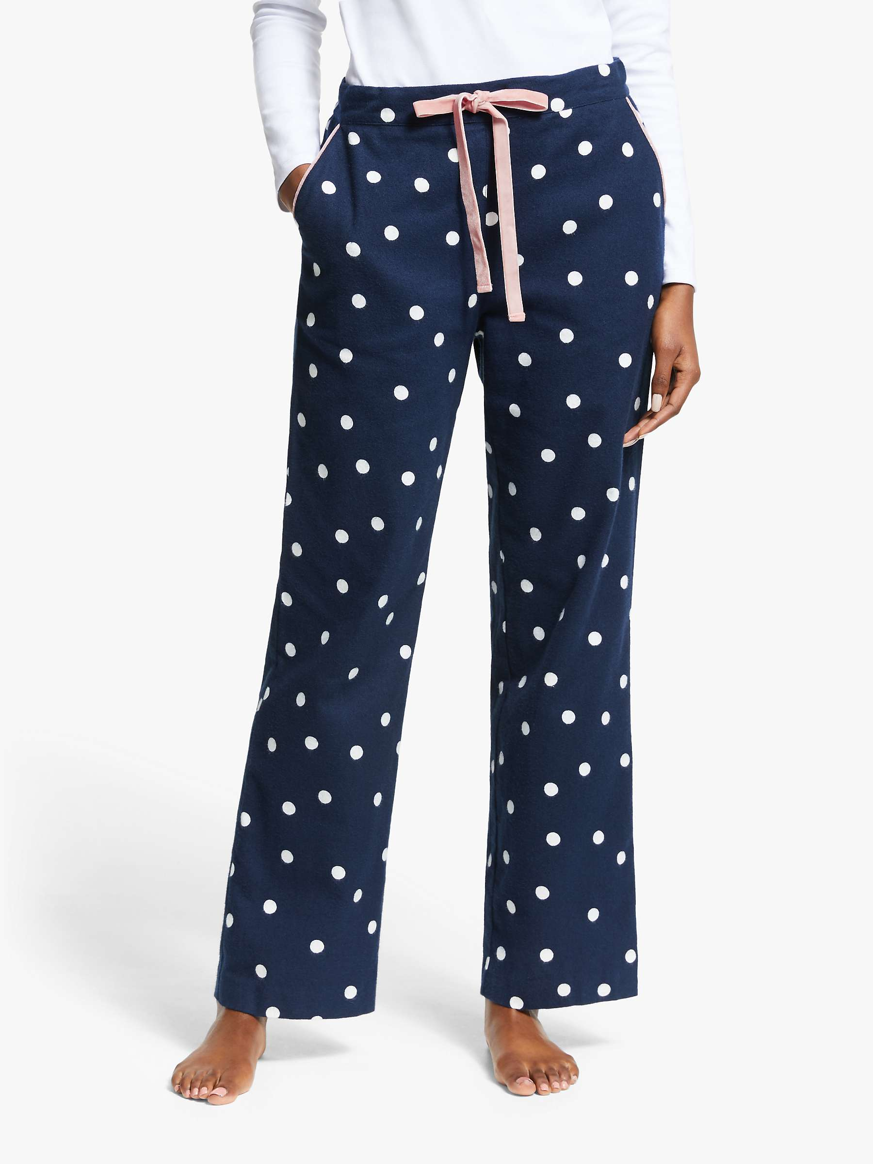 Boden Vanessa Cosy Spotted Pyjama Bottoms, French Navy by Boden