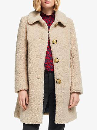 Boden Cowell Teddy Coat, Natural