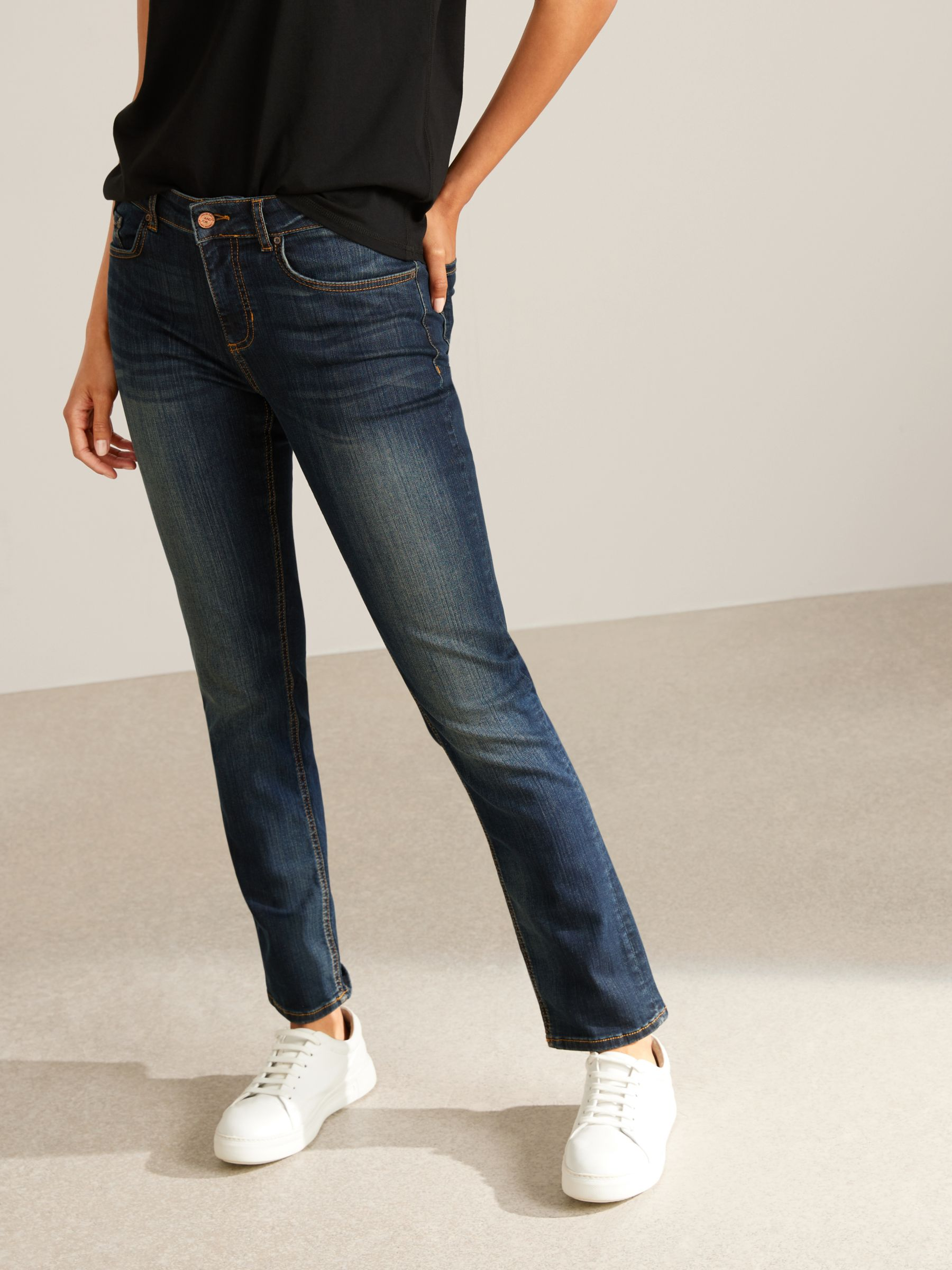 Buy AND/OR Silverlake Straight Leg Jeans, Deja Blue, 26 Online at johnlewis.com