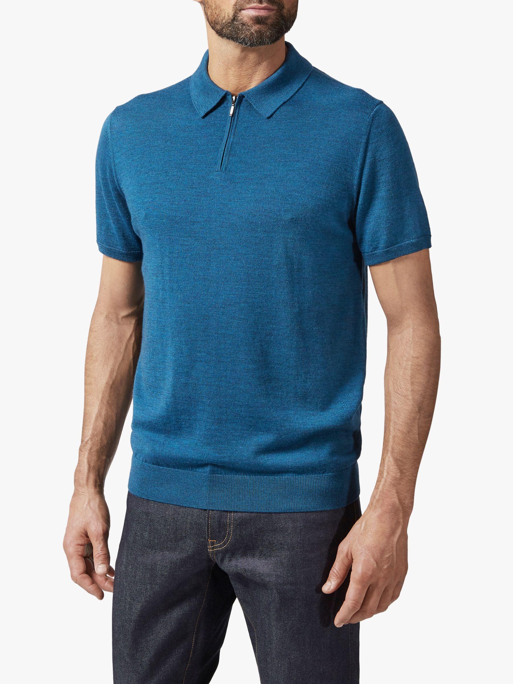 Richard James Mayfair Richard James Mayfair Short Sleeve Half Zip Polo Shirt