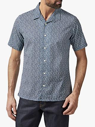 Richard James Mayfair Batik Floral Print Cuban Collar Shirt, Navy