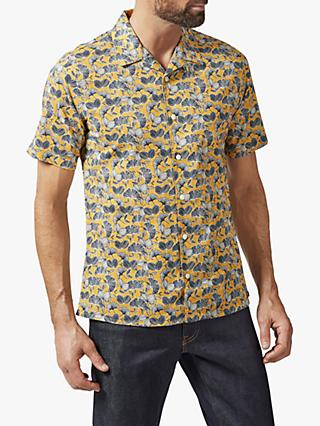 Richard James Mayfair Ginko Floral Leaf Print Cuban Collar Shirt, Yellow/Multi