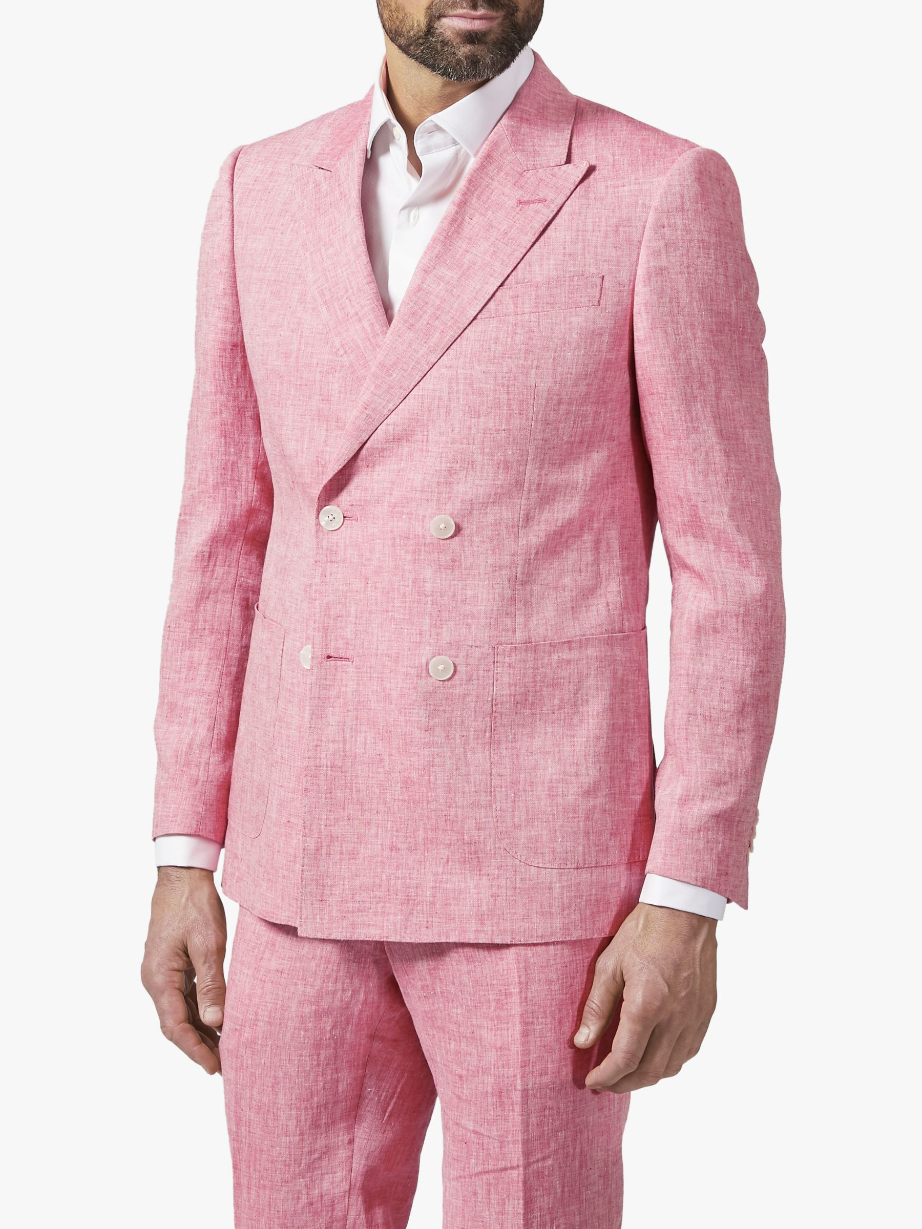 Richard James Mayfair Richard James Mayfair Double Breasted Linen Suit Jacket, Coral