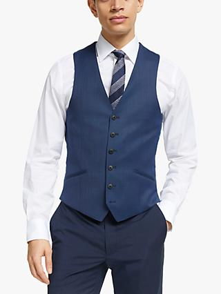 Richard James Mayfair Geo Wool Tailored Waistcoat, Dark Blue