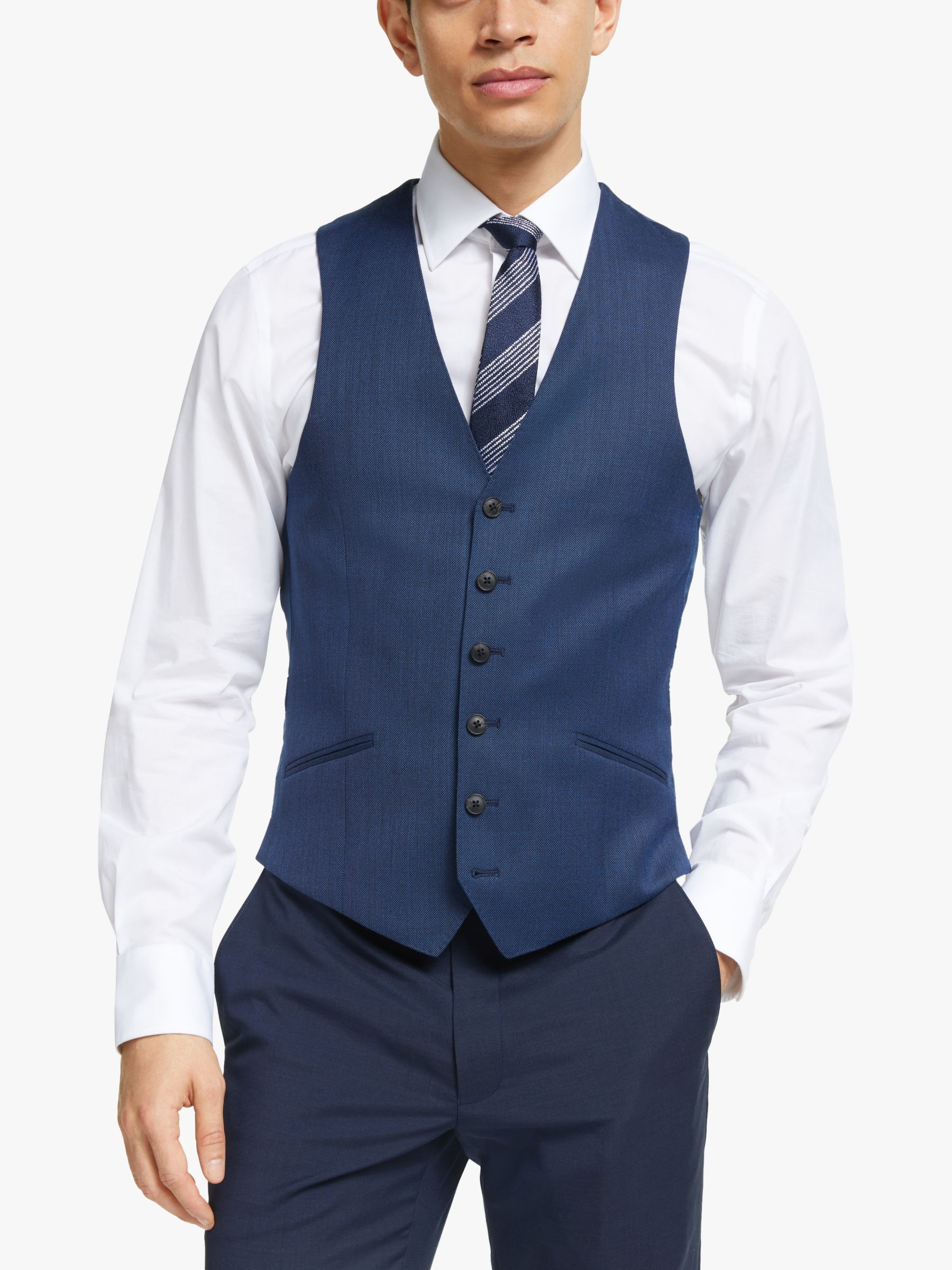 Richard James Mayfair Richard James Mayfair Geo Wool Tailored Waistcoat, Dark Blue