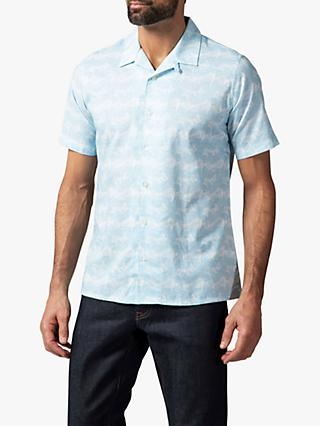 Richard James Mayfair Tropical Leaf Cuban Collar Shirt, Sky