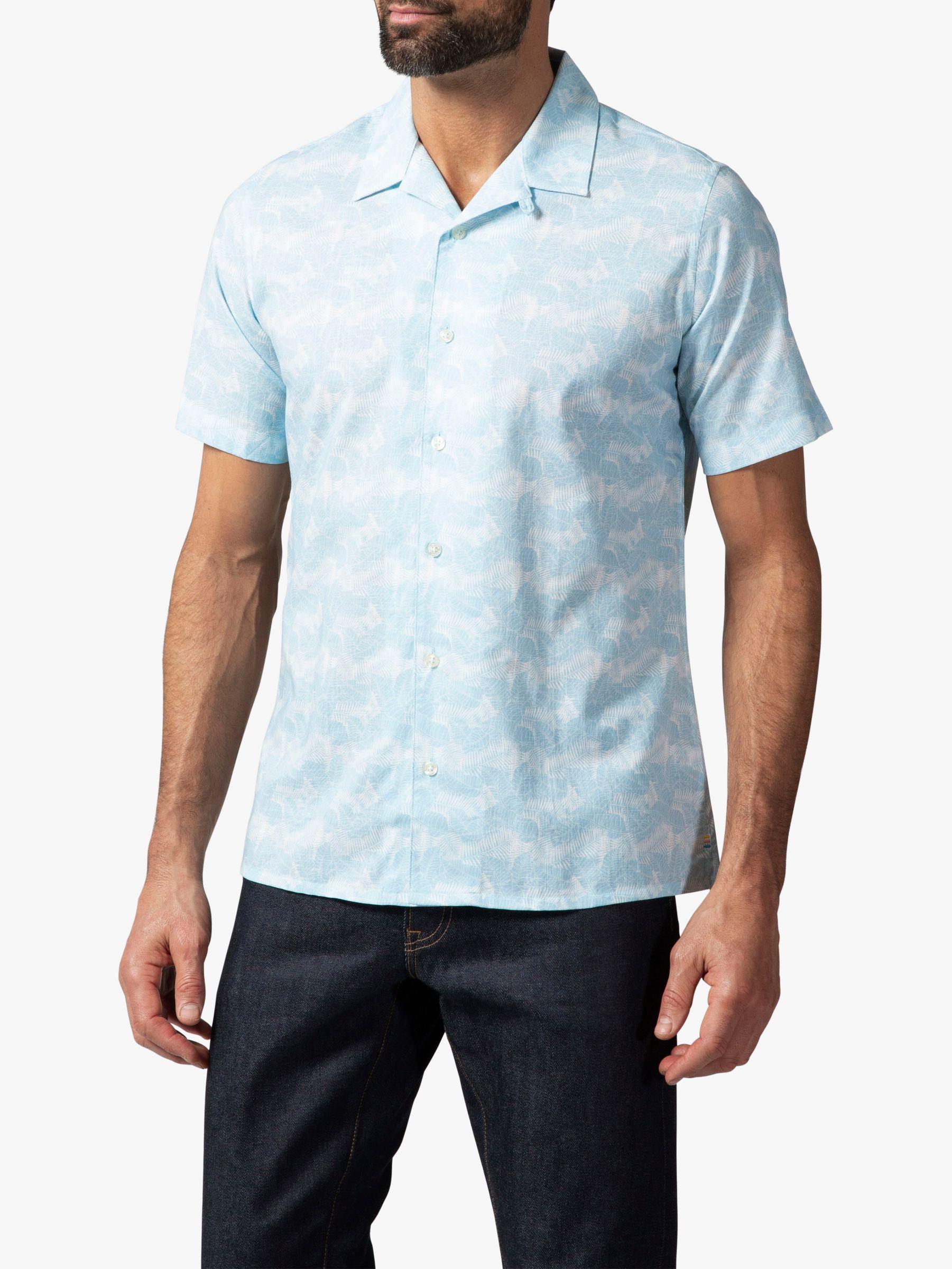 Richard James Mayfair Richard James Mayfair Tropical Leaf Cuban Collar Shirt, Sky