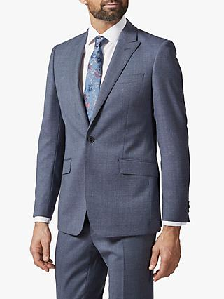 Richard James Mayfair Single Button Melange Wool Suit Jacket, Mid Blue