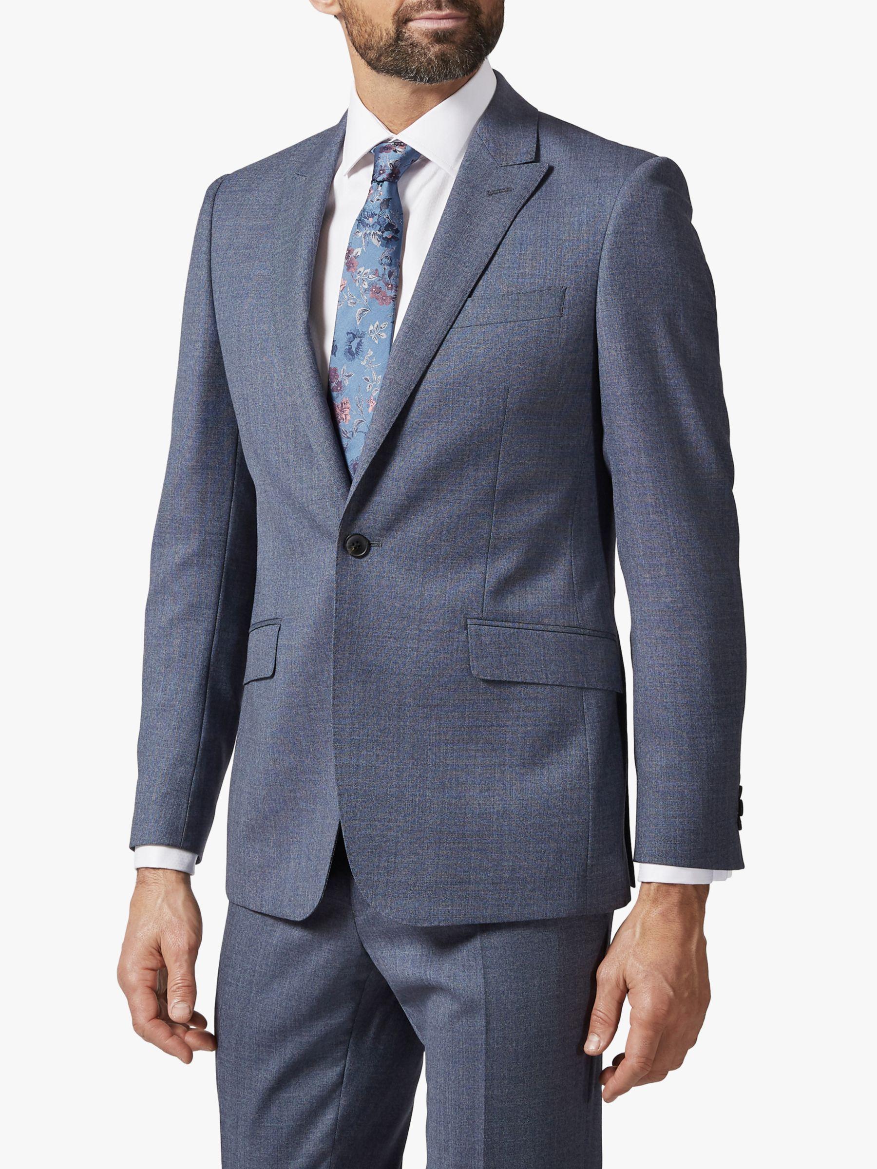 Richard James Mayfair Richard James Mayfair Single Button Melange Wool Suit Jacket, Mid Blue