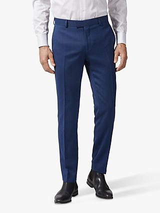 Richard James Mayfair Geo Wool Tailored Suit Trousers, Dark Blue