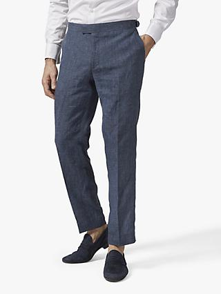 Richard James Mayfair Italian Linen Suit Trousers, Navy